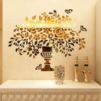 Nowy przyjazd Kryształ lustro akrylowe 3d naklejki ścienne Sieni dekoracji wnętrz wazon kwiatów motyl naklejki ścienne