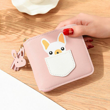 Puppy new wallet ladies short cartoon cute coin purse female students zipper square mini wallet tassel bag quality assurance цены онлайн