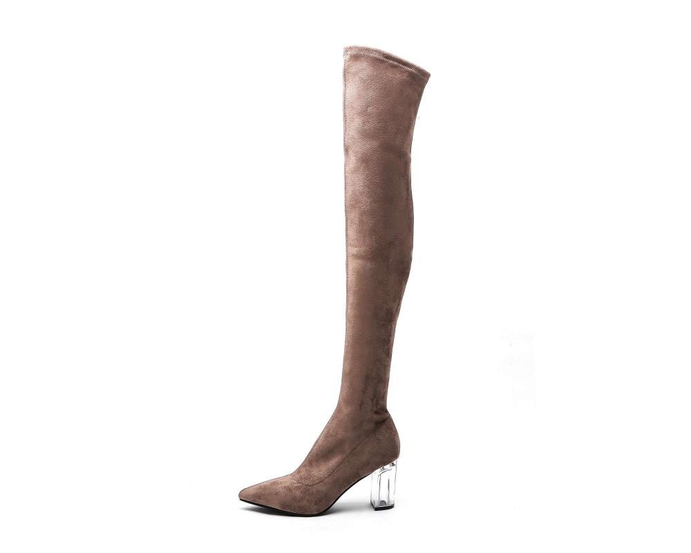 Muslo Sobre Negro Altos Lenkisen La Mujeres Tacones Calle Zip Estilo Zapatos De Alta Rodilla Botas khaki Europeo Punta Strange L21 Estrecha Moda 88qCRgEa
