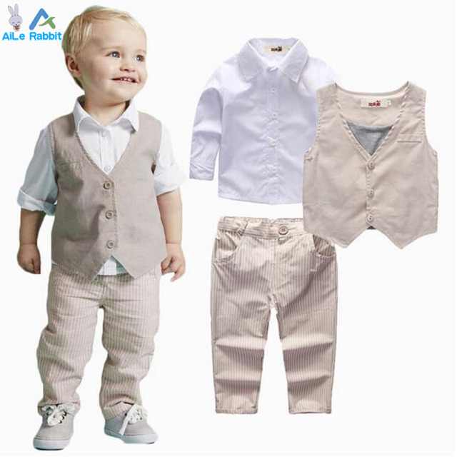 43415cd28e48 Boys Clothing Sets Autumn Spring Shirt + Vest + Pants Boys Wedding Clothes  Kids Gentleman Leisure