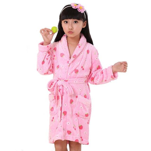 Kids Flannel Kimono Robe Bathrobe For Teenager Boy Girls Cartoon Rabbit  Strawberry Printed Children Bath Robe Pink Rose 4-14T 7fe806b9d