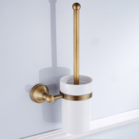 Leyden Wall Mounted Environmental Antique Brass Toilet Brush Holder With Ceramic Cup Set Durable Bathroom Accessories Set