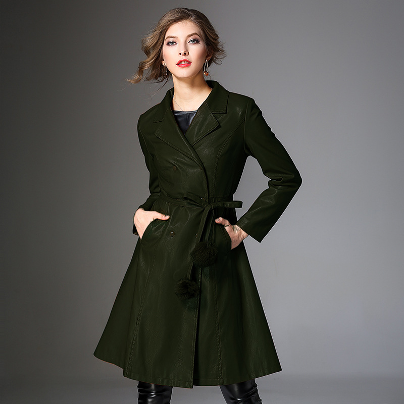 Outwear Veste Femmes Collar Pu Faux Cuir Manteaux Hiver Noir Casual Manches Turn Normcore Pleine down Mode En kaki Manteau Long vert Automne dexCoB