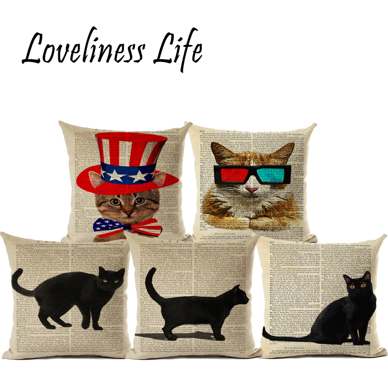 New Animal Cushion Cover Book Page With Cat for Children Decorative Sofa Throw Pillow Car Chair Home Decor Pillow Almofadas