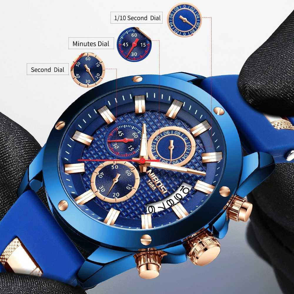NIBOSI הכרונוגרף גברים שעון סיליקון רצועת ספורט קוורץ Mens שעונים למעלה מותג יוקרה צבאי שעון כחול Relogio Masculino