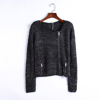 sequined zipper knitted cardigans women's sweaters female 2018 new autumn winter Europe America fashion solid color