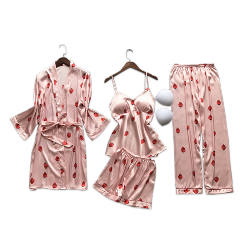kawaii strawberry pink satins silk 4-piece Gowm   sets   women Korea sexy Ice silk Spaghetti straps sleepdress   pajamas     sets   mujer