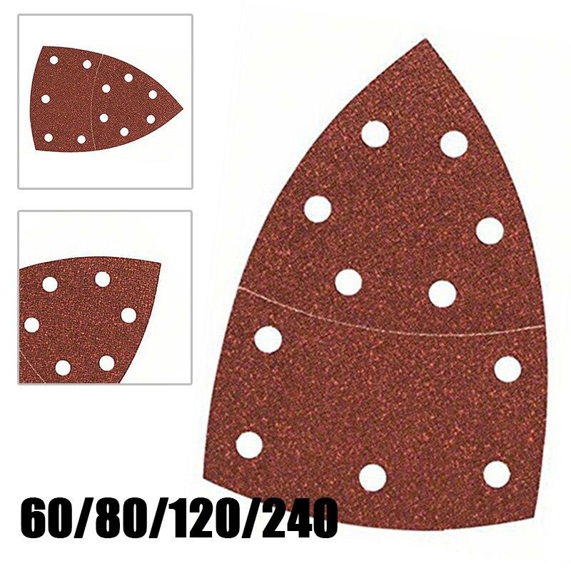 10Pcs 80Grit Sanding Sheet Sandpapers Hook And Loop Sanding Disc For Bosch PSM 100A Detail Palm Sander Tools Kit Abrasives