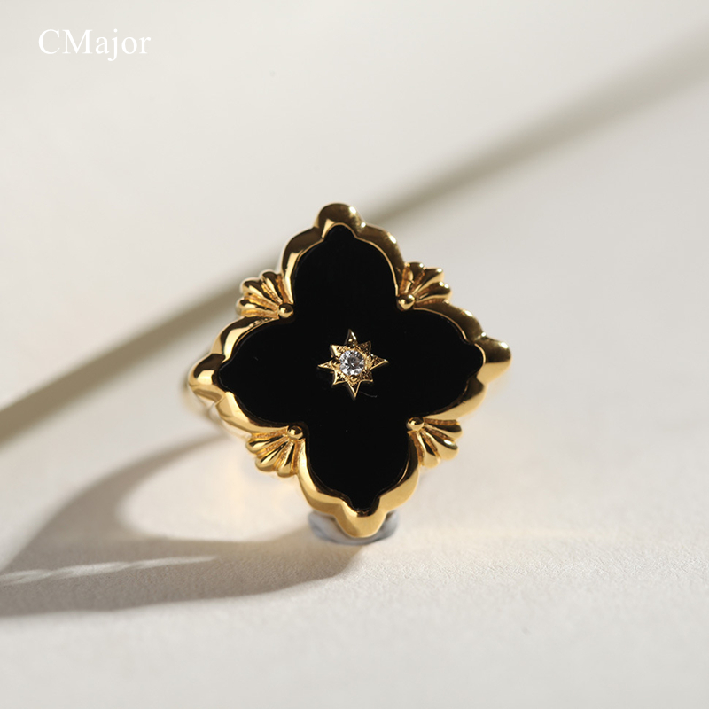 все цены на CMajor S925 Silver Jewelry Square Black Four-leaf Clover Vintage Fashion Rings For Women