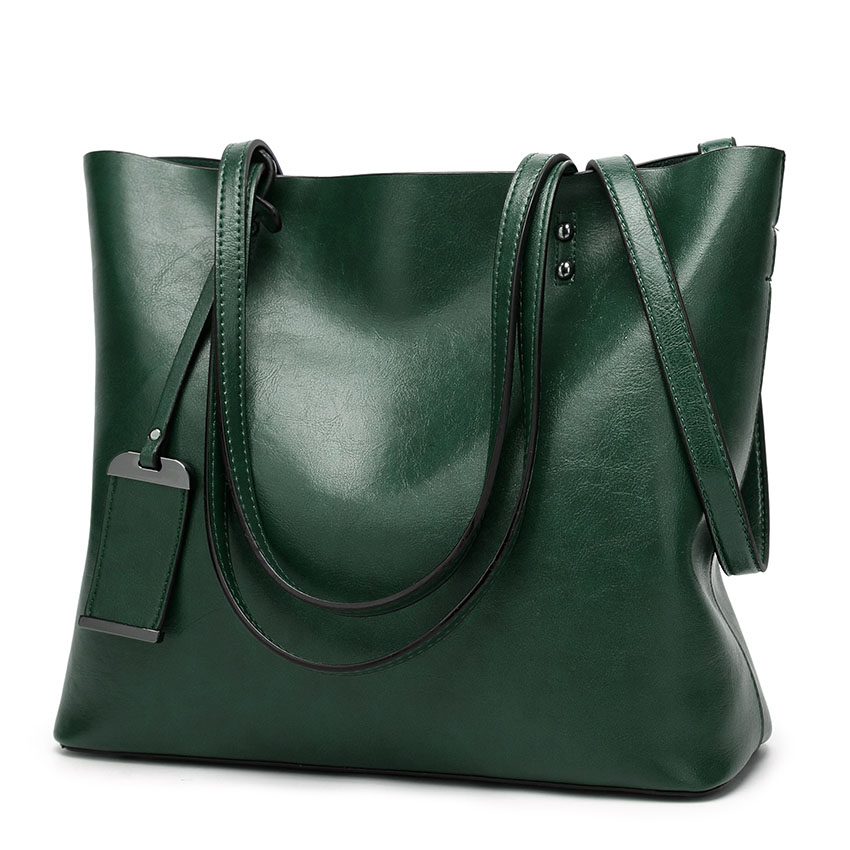 2019 New Soft Oil Wax PU Leather Handbag Women's Messenger Bag Casual Tote Brand Green Brown Large Lady Shoulder Crossbody Bags