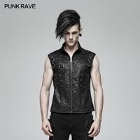 PUNK RAVE Men Black Gothic Style Punk Waistcoat Personality Men Sleeveless Fashion Vest Summer Men's Stage Cosplay Jacket Vest