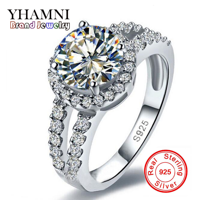 95% OFF!!! 100% 925 Sterling Silver Ring Sterling Silver Jewelry Sona 1 Carat CZ Diamant Zircon Wedding Rings For Women YH001