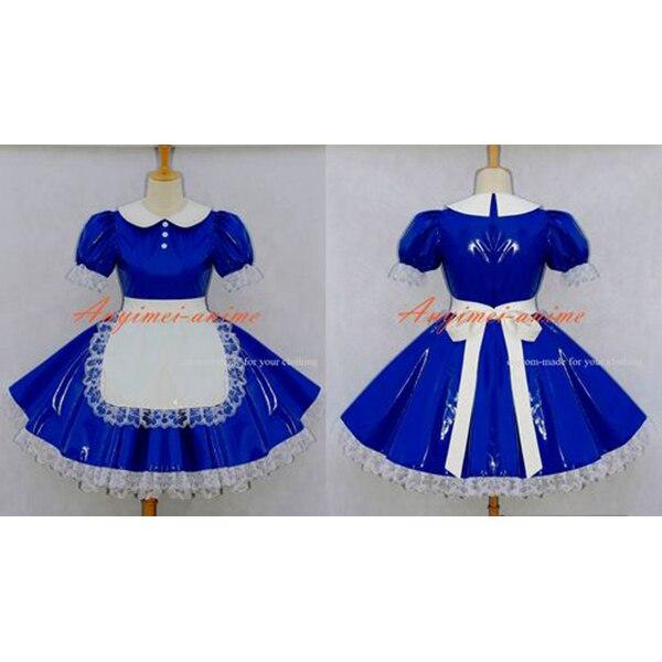 Пикантные Сисси горничной платье ПВХ синий с замочком форма Косплэй костюм на заказ