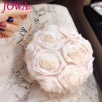 2019 New Design Women's Fashion Evening Bag Lady Sweet Lace Flower Circle Handbag Shiny Diamond Night Purse Wedding Party Clutch