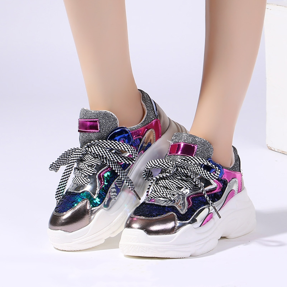 Women Chunky Sneakers Fashion Patchwork Silver Bling Thick Sole Heel Ladies Shoes Breathable Platform Casual Women Shoes 1900wWomen Chunky Sneakers Fashion Patchwork Silver Bling Thick Sole Heel Ladies Shoes Breathable Platform Casual Women Shoes 1900w
