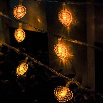 10m 70led 220V Heart-shaped Fairy LED String Lights Xmas Christmas Wedding Decoration home Indoor Bedroom heart shape lighting