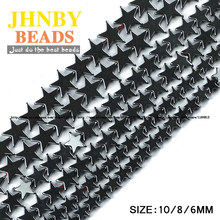 JHNBY Pentagram star Black Hematite beads Natural Stone High quality Loose beads Stone 6/8/10MM for Jewelry bracelet Making DIY()
