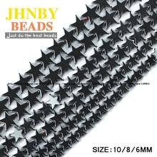 цены AAA Pentagram star Black Hematite beads Natural Stone High quality Loose beads Stone 6/8/10MM for Jewelry bracelet Making DIY