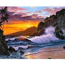 5D DIY Diamond Painting Landscape Sunset Beach Resin Diamond Painting Cross Stitch Scenic Needlework Home Decorative