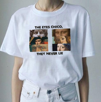 The Eyes Chico Then Never Lie Funny Print Van Gogh T Shirt Women Short Sleeve Short Tops Michelangelo T-Shirt Harajuku Tees Top image