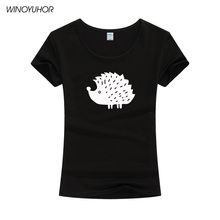 Cute Cartoon Animal Hedgehog Printed Women T Shirts Summer Short Sleeve Solid Color T-shirt Womens Brand Clothing Tops