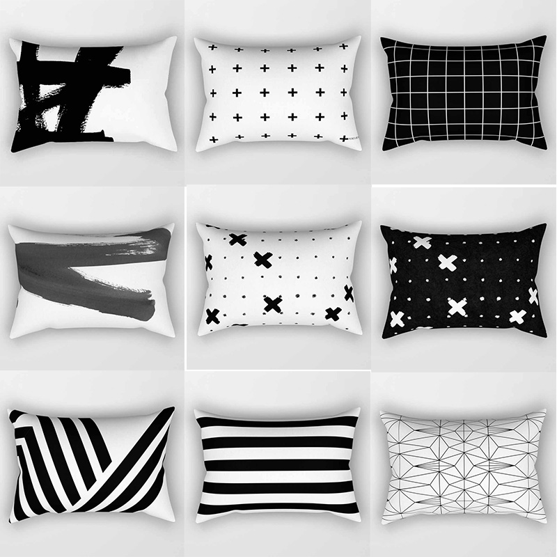 Hot Sale Brand Black White Geometry Double Sides Patterns Pillow Case Rectangle Bedroom Pillow Cases Travel Pillow Cover 70*50cm