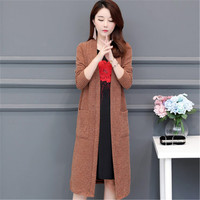 2019 Autumn Winter Women Long Knitted New Fashion Sweater Female Plus Size 5XL Loose Oversized Casual Cardigan Ladies Pocket 716