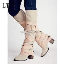 Fahion celebrity shoes women drop shipping gladiator women boots lace up knot rough high heels pointed toe knee high