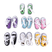 New 1 Pair Hot Selling 7 5cm Canvas Shoes For BJD Doll Toy Mini Doll Shoes