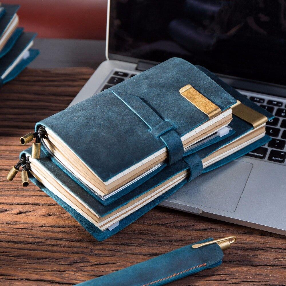 100% Genuine leather Travelers notebook vintage diary caderno sketchbook school supplies