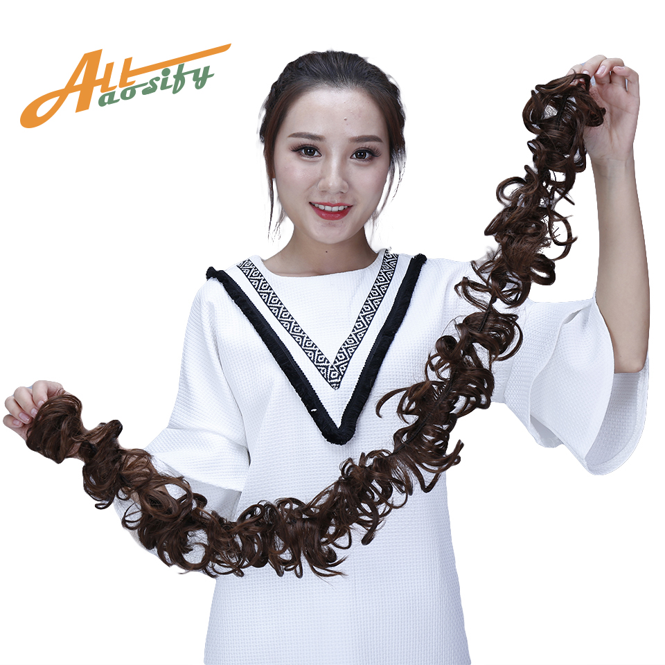 Allaosify Multiple Colors Synthetic Hair Bun Curly Chignon Donut Roller Hairband Scrunchie Hair Extension Headband Hair