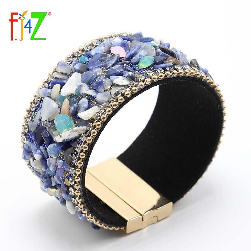 F.J4Z New Arrival Nature Stones Bangles Fashion Luxury Wide Women Magnet Crystal Bangle Bracelets pulseiras de couro