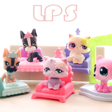 FGHGF LPS Pet shop Dog Cat with Sofa bed Aaccessories Collection Rare Figure Collie Animals Loose Cute Kid Toys Y18090401