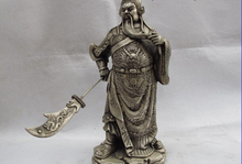 free shipping 150401 S0819 Chinese Folk Refined White Copper Bronze Silver Guan gong Guan Yu Warrior Statue