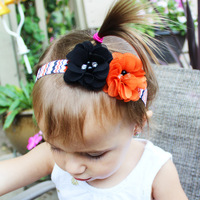 10PCS/LOT Chiffon Flowers Halloween Hair Ribbon color Headbands for Hair Handmade Halloween Hair Accessories Party DIY Gift