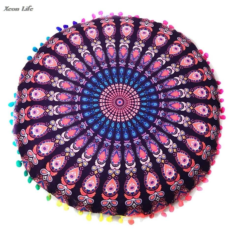 Briljant 2017 Nieuwe Ontwerpen Indian Mandala Floor Kussens Ronde Bohemian Kussen Kussens Kussens Cover Case Decoratieve Kussensloop Gift