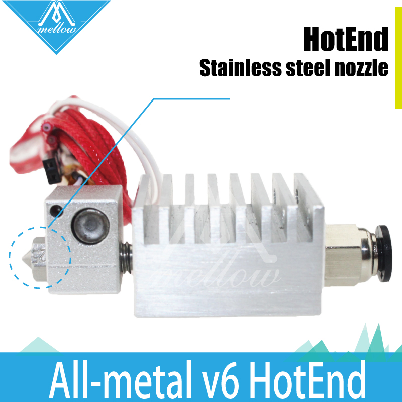 Prix pour Tout en métal v6 HotEnd Thermique tête buse tête d'impression Chimère extrudeuse avec Fils mise à niveau Kit Complet pour 1.75mm 3D imprimante