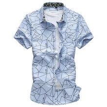 2019 Summer New Men Shirt Fashion Plaid Printing Male Casual Short Sleeve Shirt Large Size Brand Men's Clothing 5XL 6XL 7XL