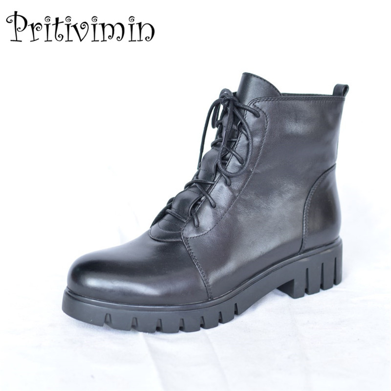 2017 winter ladies warm lined shoes woman black genuine leather thick low heel lace up ankle boots footwear Pritivimin FN49 us 6 10 mens black genuine leather lace up fur lined ankle boots winter warm oxford dress shoes