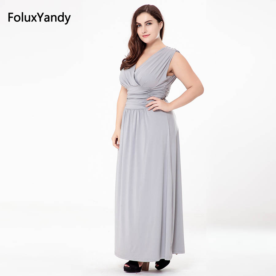 Gray Blue Sleeveless Long Dress Plus Size 3 4 5 6 XL Casual V neck A line Empire Dress Vestidos SQN02 in Dresses from Women 39 s Clothing