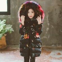 купить Fashion Winter Thicken Warm Cotton Printed Child Long Coat Children Outerwear Fur Collar Baby Girls Jackets For 3-12 Years Old онлайн