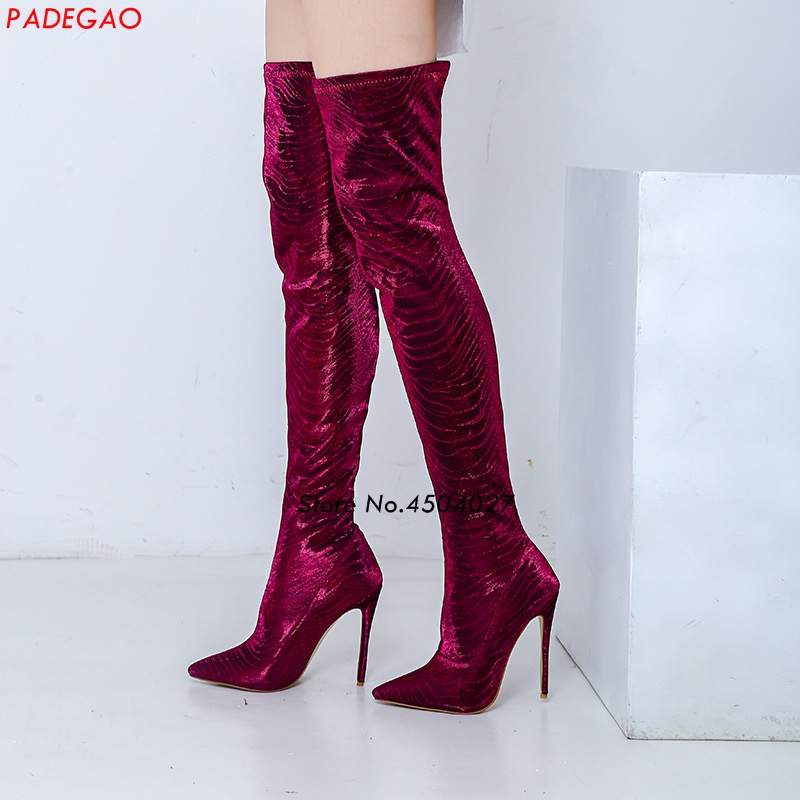 Autumn Women Boots Stretch Slim Thigh High Boots Fashion Over the Knee Boots High Heels Shoes Woman Sapatos цена