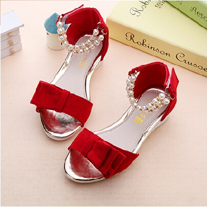 Fashion kids shoes girls sandals beautiful pearl princess sandals kids cute  bow-knot kids sandals girls shoes sandals a127283f6ac4