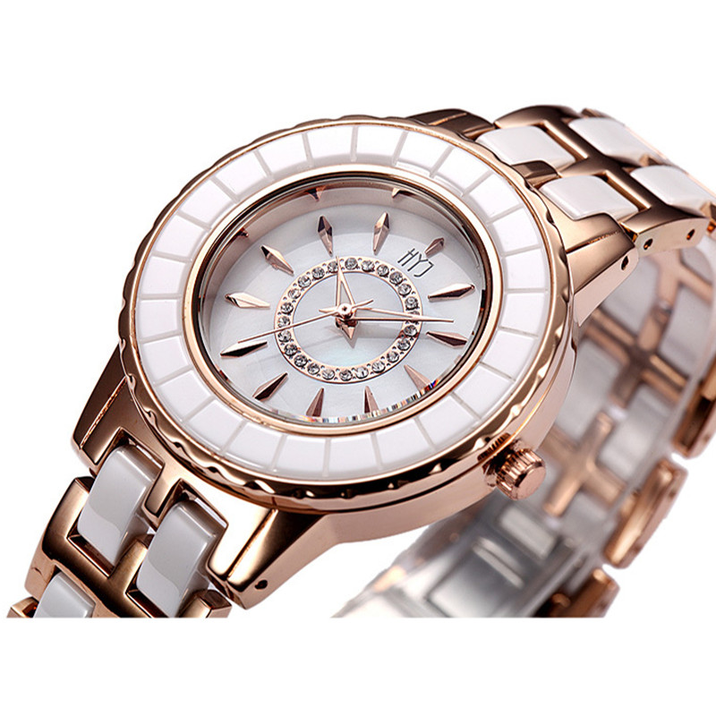 2016 Hot sale HYJ brand watch women fashion ceramic Gold Women Dress Wrist watch Ladies hour