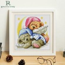 Романтическая история Набор для вышивания крестиком от Starter kits для начинающих рукоделие вышивка с надписью «Good night baby bear» вышивка крестиком