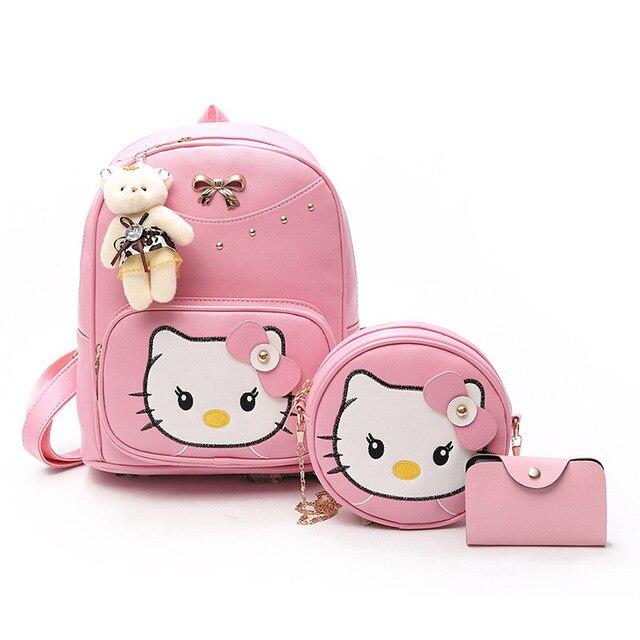 3 PCS set hello Kitty Cat Cartoon Pattern Backpack Set Purse Women School  Bags Leather Cute d41e541844