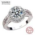 Etiqueta YANHUI 100% 925 plata pura anillo de compromiso S925 sello 3 quilates CZ anillos de bodas de diamante para mujer talla 4 5 6 7 8 9 10 11 YR091