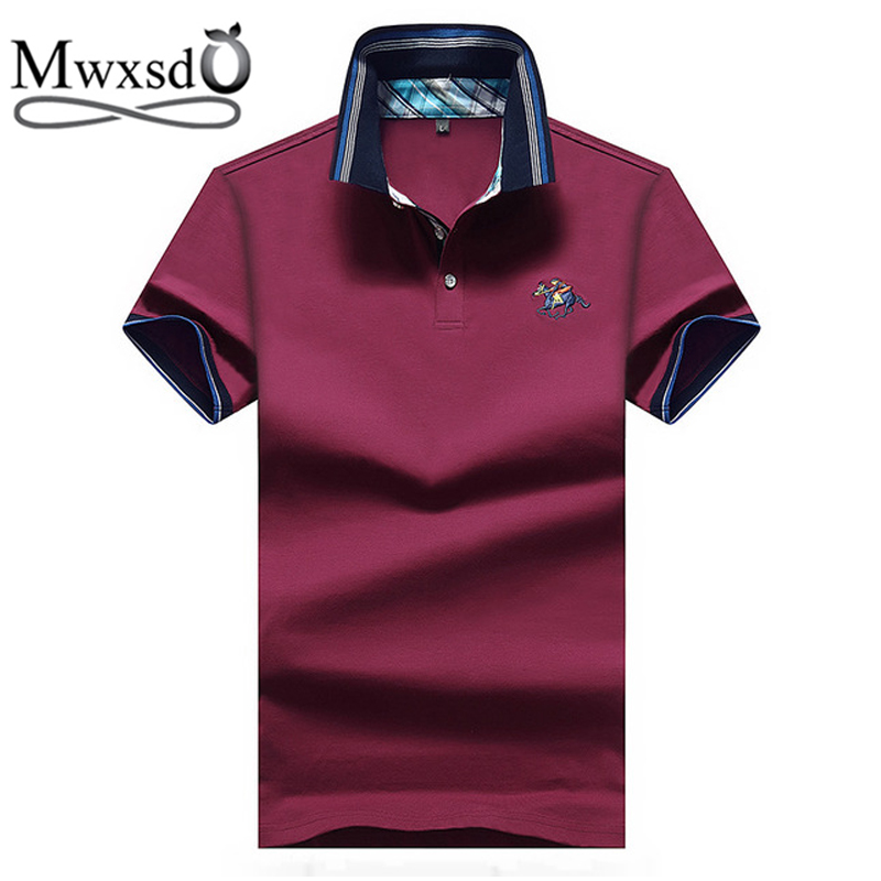 Mwxsd famous brand Summer casual Mens Horse Embroidery   polo   shirt men soft breath   polo   shirt male solid   polos   para hombre