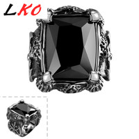 LKO Top Quality Punk Style Black Square Gem Stone Ring For Man Vintage Retro Titanium Steel