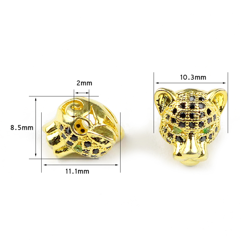 WLYeeS 2pcs CZ Green Eye Leopard head Copper beads Black Zircon Metal Charm Loose beads fit custom Jewelry bracelet DIY Finding in Beads from Jewelry Accessories